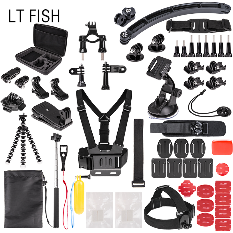 LT FISH Sports Action Camera Accessory Kit for GoPro Hero6 5 Black, Hero 5,4,3,2,1 APEMAN,SJCAM for Xiaomi Yi Xiao mi Yi2 4K