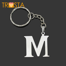 Trusta 2018 Women/Men's Fashion Stainless Steel Letter M N O P Q R S T U V W X Y Z Key Chains Key Rings Charms Gifts YSSZM(China)
