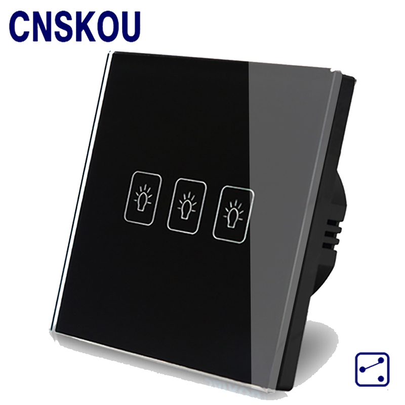 CNSKOU EU Standard 3 Gang 2 Way AC220~250V 2000W Tempered Glass Panel Power Wall Touch Button Electrical Light Switch cnskou eu standard 1 gang 2 way ac220 250v 1000w smart home intelligent rf 433mhz remote control touch screen glass light switch