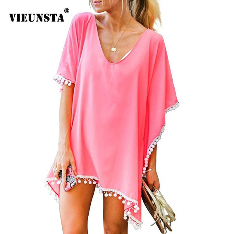 VIEUNSTA <font><b>16</b></font> Colors Women Summer Dress <font><b>Sexy</b></font> V-neck Chiffon Tassels Beach Dress <font><b>Female</b></font> See-though Solid Loose Mini Dresses Vestido image
