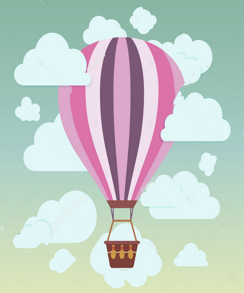 Clouds striped hot air balloon blue sky backdrop polyester or Vinyl cloth High quality Computer print wall Background