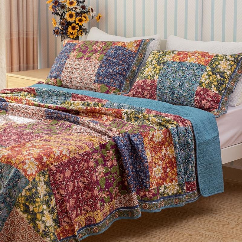 CHAUSUBวินเทจดอกไม้ผ้าคลุมเตียงชุด3ชิ้นล้างผ้าฝ้ายคลุมเตียงผ้านวมผ้าคลุมเตียงแผ่นนอนปลอกหมอนผ้าห่มขนาดคิงไซส์-ใน ผ้าคลุมเตียง จาก บ้านและสวน บน   1