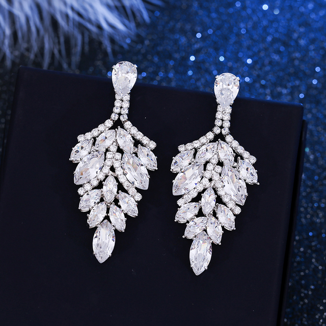 6063d8bb5 elegant cubic zirconia earrings big long drop dangle earrings white gold  color zircon crystal brincos bridal jewelry for women