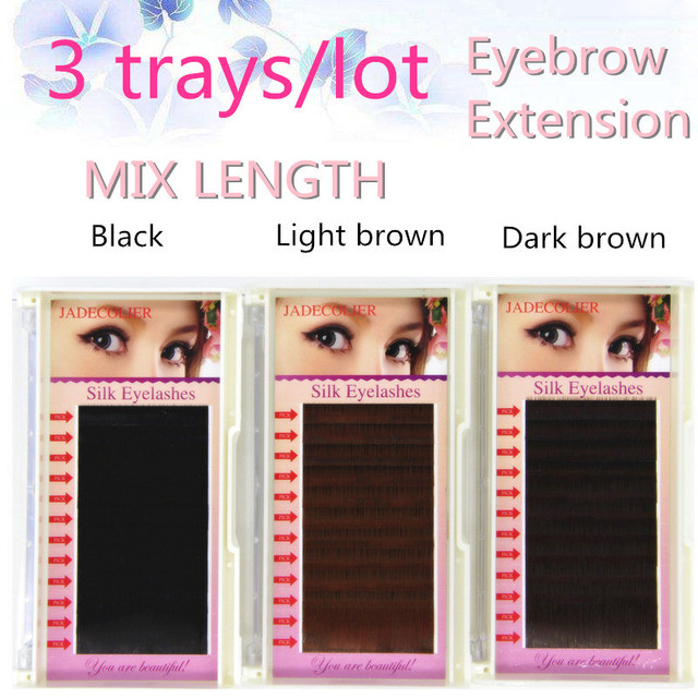 New 3 Trays 01 I Curl Mix Length Eyebrow Extension Blacklight