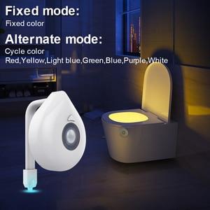 Image 4 - Goodland LED tuvalet aydınlatması PIR hareket sensörü gece lambası 8 renkler arka işık WC tuvalet kase koltuk banyo gece lambası çocuklar için