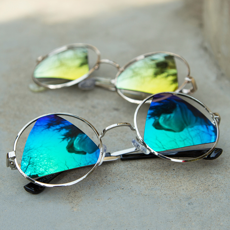 Dokly 2015 Fashion Triangle lens Vintage Round Sungs