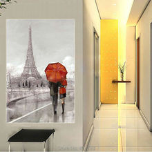 Romantic Wall Art Black Red Umbrella, Paris Lovers Under Umbrella Modern Hand Painted Oil Painting On Canvas For Home Decor