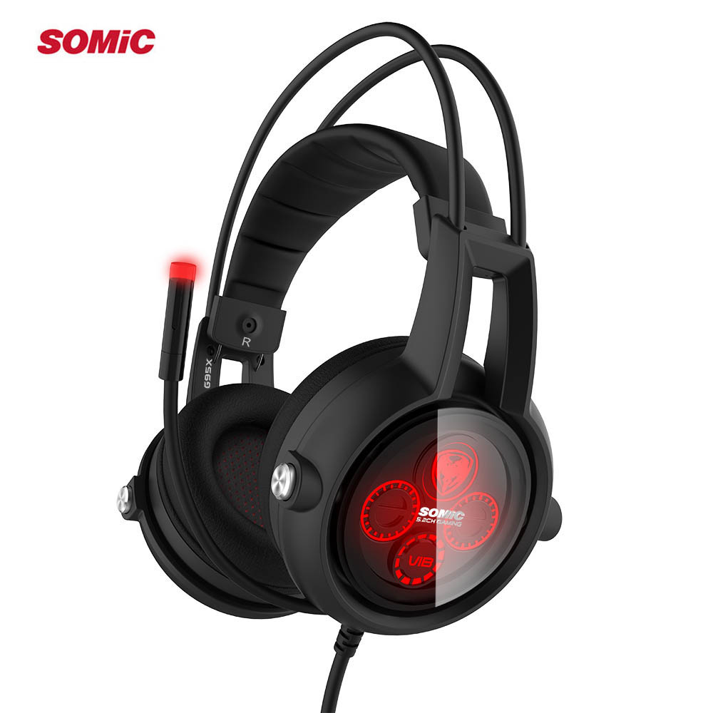 Authentic Somic E95X 5.2 Multi-channel Vibration Headset Super Bass Noise Canceling Headphone with LED,Mic For PS4 FPS Game
