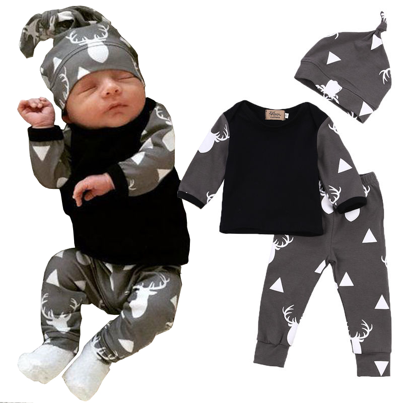 Deer Print Fashion Autumn Bebe Baby Boy Girl Clothing suits Children Clothing Set Newborn Baby Clothes Cotton 3pcs Outfits set 9 12m baby boy set monkey print clothes for children newborn baby boy clothing corduroy 2017 autumn clothes 2pcs boy outwears