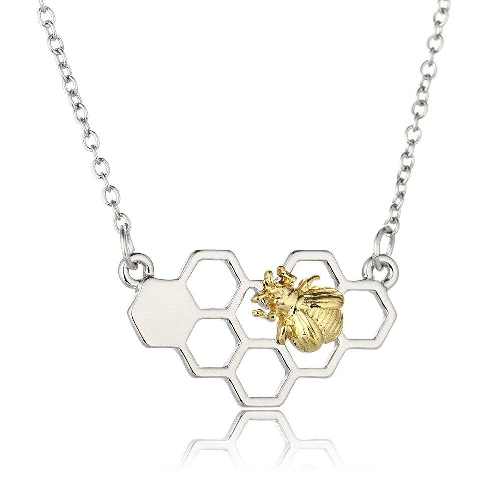 Bee Collier Or Argent Animal Cœur Pendentif Charme en nid d/'abeille Femmes Fille Bijoux