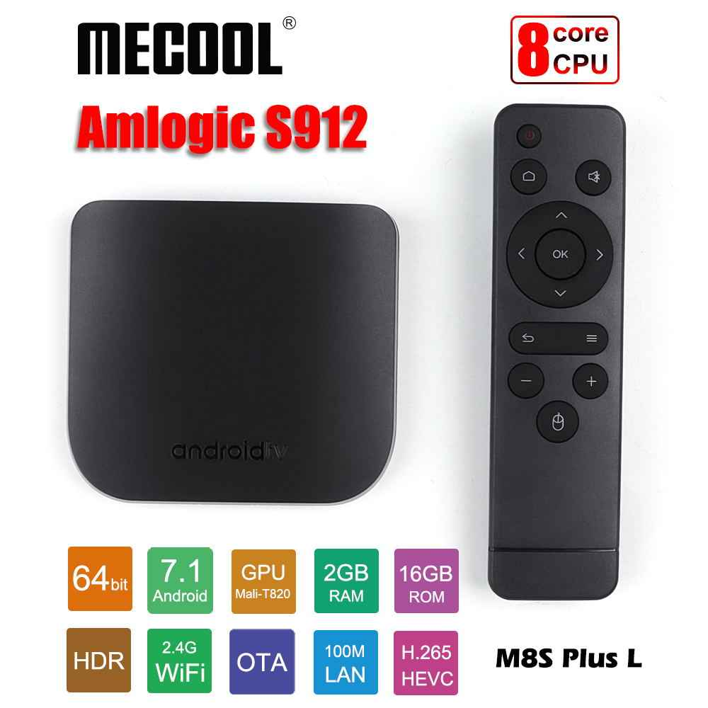 Mecool Android TV Box M8S Plus L Amlogic S912 Octa core 2GB 16GB lecteur multimédia intelligent mince 2.4G WiFi 4K HDR10 Android7.1 TV Box