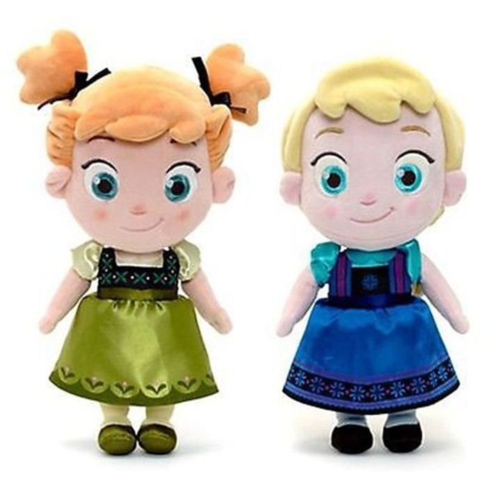 Disney 30cm Doll Toy Frozen Childhood Version Princess Elsa Anna Doll Plush Toys Q Version Dolls for Childrens Birthday Gift