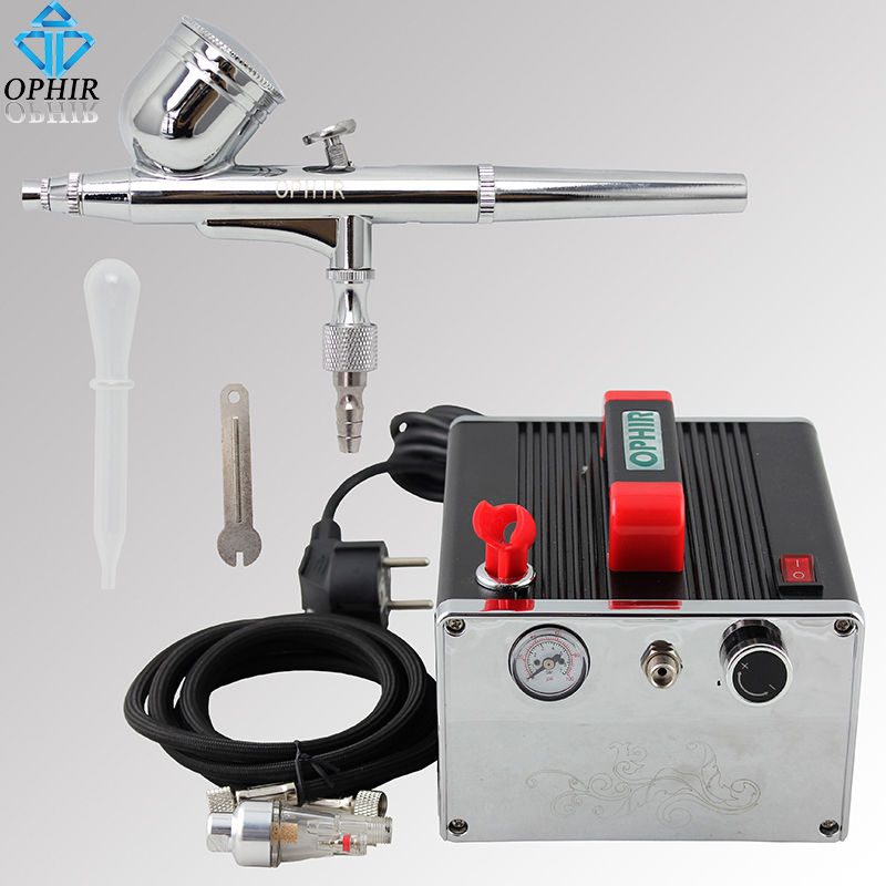 OPHIR 0.3mm Dual Action Airbrush Kit with Air Compressor for  Nail Art Body Paint Makeup Cake Decorating Airbrush _AC091+AC004A ophir airbrush kit with air compressor 0 3mm dual action spray for cake decorating makeup nail art hobby paint  ac003b 004 011