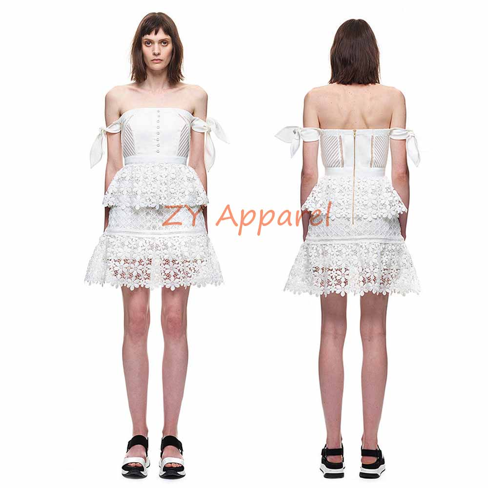 a2ebb21bd770 Vestidos 2016 self portrait White Off Shoulder Corset Lace Dress with  Bardot Neckline Tiered A Line Mini Dress Free Shipping