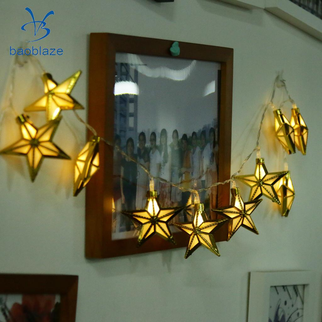 Baoblaze Retro Golden Metal Pentagram Battery Operated 10LED Bulb Wire String Light for Wedding Hotel Business Building Festival