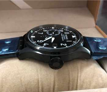 47 mm PARNIS big pilot Automatic Self-Wind movement leather strap men watches high-quality pvd Mechanical Wristwatches