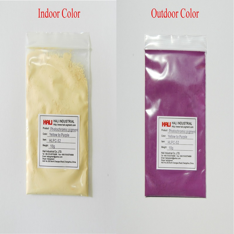 double color photochromic pigment solar active pigment color yellow to purple item HLPC 52 1lot 50gram