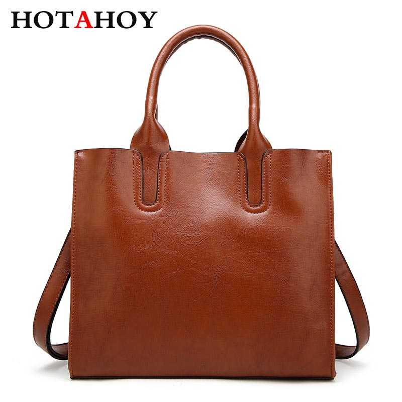 ФОТО HOTAHOY 3 Colors Cow Leather Women Bag  Trunk Tote Famous Brands Casual Spanish Brand  Shoulder Bag Ladies