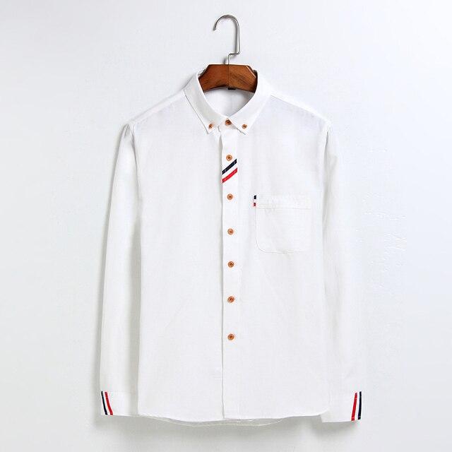 Camisas de la Marca de Lujo de Los Hombres Camisa de 2017 Nuevos Hombres de la Llegada de Largo manga Slim Fit Camisas de Algodón Para Hombre Casual Camisa de Vestir de Tamaño 4XL