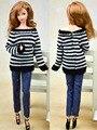Camisola + calças De Couro/Edição Limitada Artesanal/Black & Red Stripe Coat Acessórios Da Boneca Roupas Para 1/6 Kurhn Barbie Doll