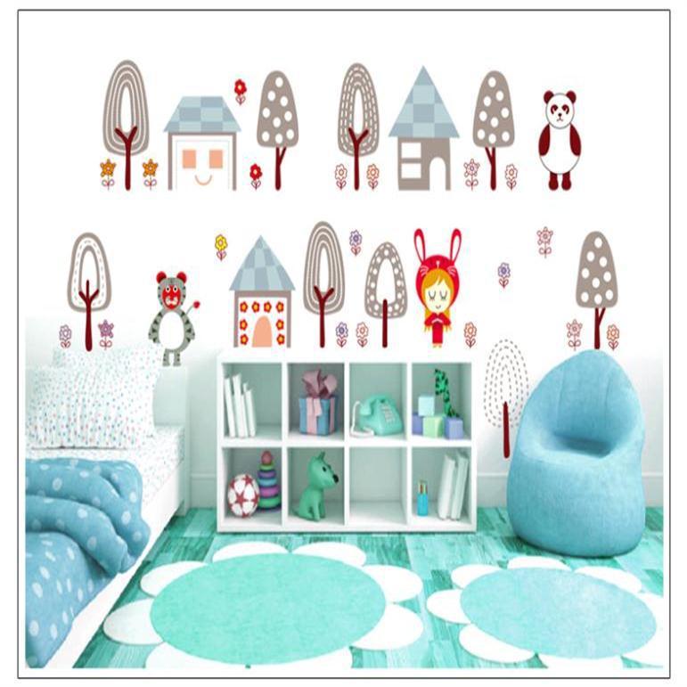 Pequeño bosque árbol casa Panda historieta desprendible colorida etiqueta de  la pared Baby Kids Room decoración aula niño regalos dd735c29e7c