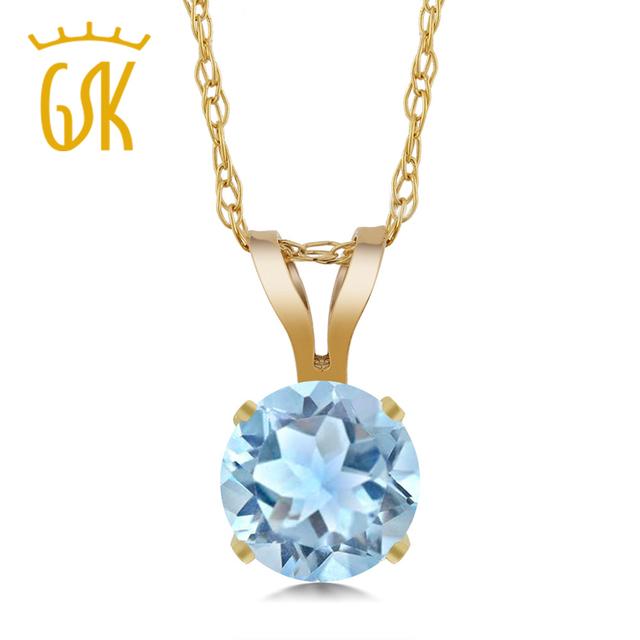 Gemstoneking 0.40 ct rodada céu azul natural aquamarine 14 k ouro amarelo colares & pingentes da mãe