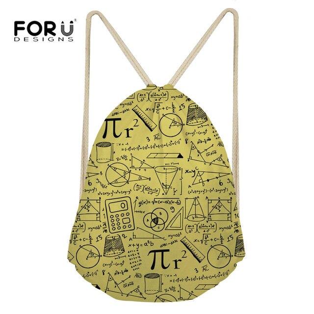 610b1cd92e FORUDESIGNS Training Bag Drawstring Bag Funny Math Language Print Sport Bag  Women Gym Sack Female Small Sports Bags for Fitness