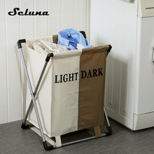 Модная складная корзина для белья Seluna из плотной Оксфордской опалубки с двумя ячейками, корзина для хранения, коробка, полка для ванной, орг...