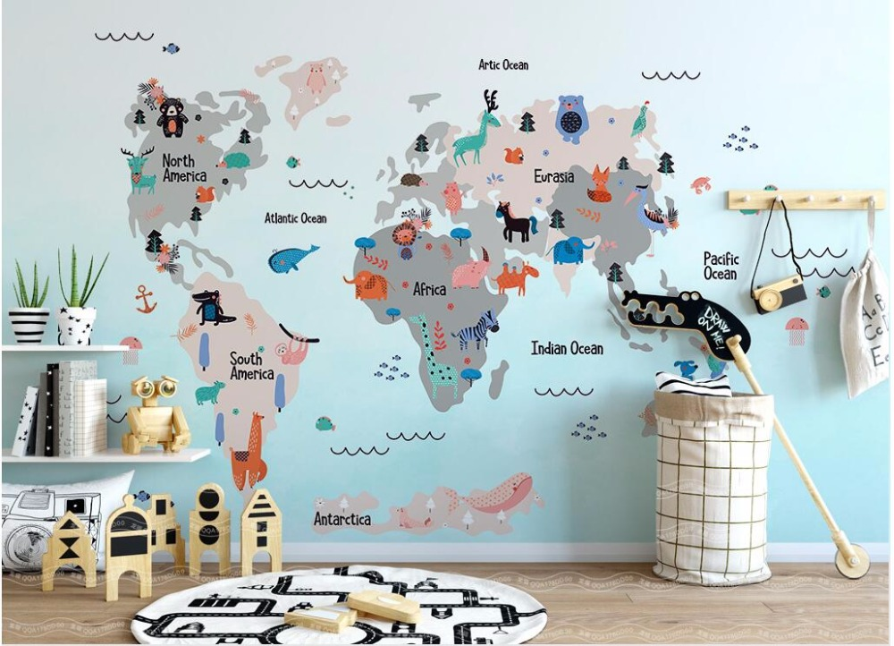 WDBH custom mural photo 3d wallpaper Cartoon world animal map children's room home decor 3d wall murals wallpaper for wall 3 d wdbh custom mural 3d photo wallpaper gym sexy black and white photo tv background wall 3d wall murals wallpaper for living room