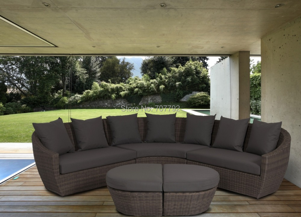 Rattan curved corner sofa set for Curved lounge