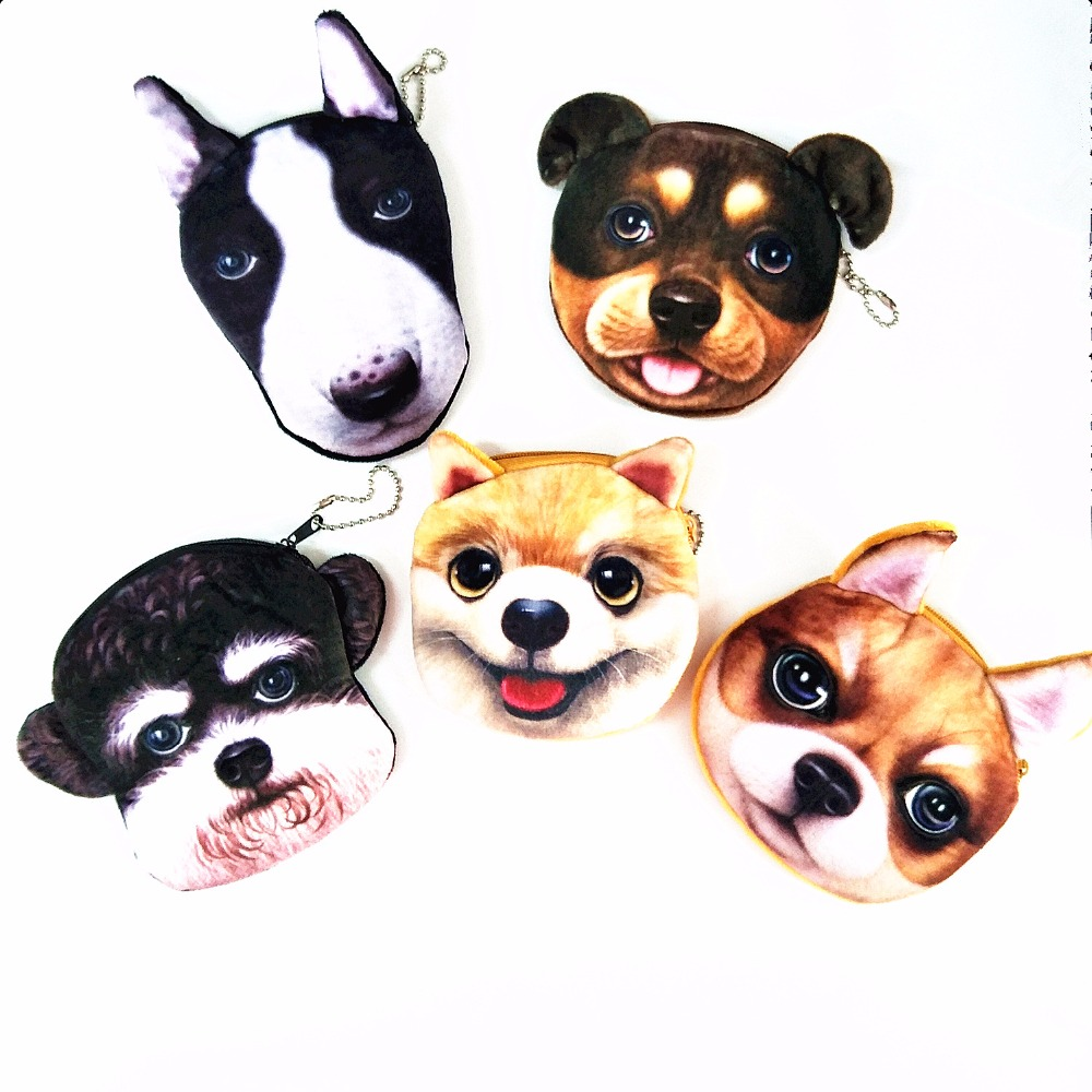 M200  Cute Women Purses Cartoon Creative 3D Dog Plush Coin Purses Wallet Card Bag Comfortable Worth Buying Gift Wholesale m sparkling td303 creative cartoon 3d led lamp