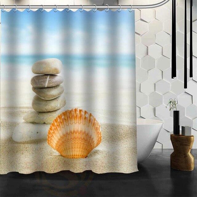 Custom New Waterproof Shower Curtain Bathroom Beach Spa Seashell Starfish Stones Candle Sand Flower