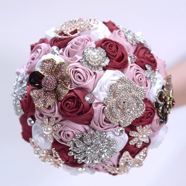 Silk Flower Wedding Bouquets For Sale: De Mariage Crystal Wedding Flowers Bridal Bouquets