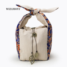 WIZAMONY чайник Jadeware сумки для хранения уплотненный шнур ручной работы подписи хлопок с мягким ворсом хоп-карман ткань сумка