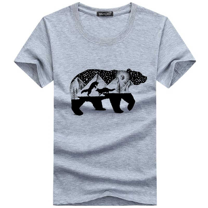 Men's T-shirt Funny Print Bear And Foxes T shirt Men Brand Summer Round Neck White Cotton Short-sleeved Tee Shirt Homme
