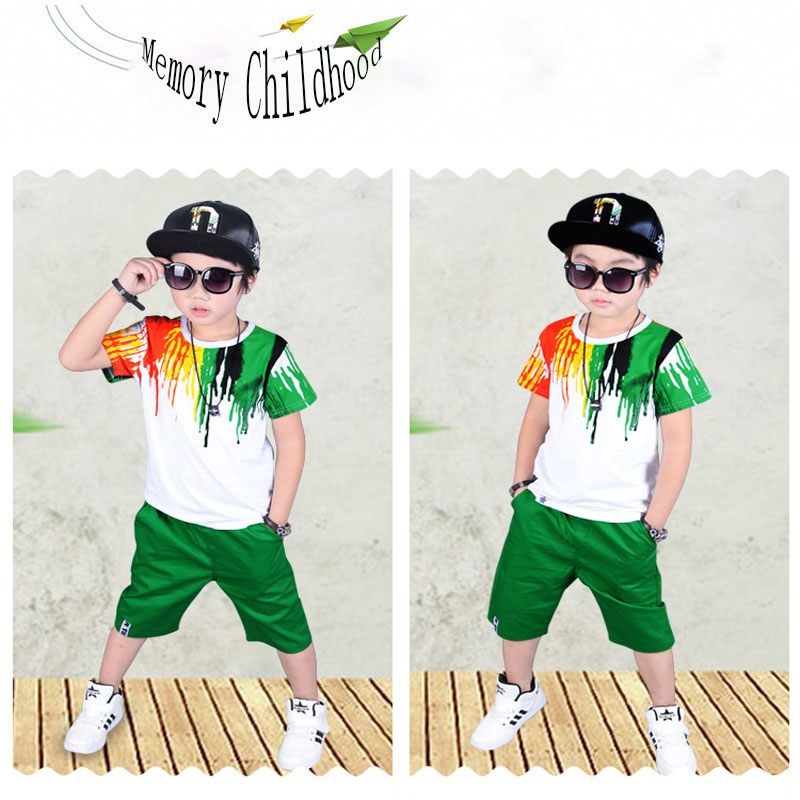 Children Clothing sets 2017 Summer Boys fashion Cotton Pattern Short Sleeve T shirts Shorts Clothes Sets Suits 3-12 years old