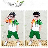 2017 Fashion Children S Wear Color Pattern Short Sleeve Children S Suit Boy S Round Neck