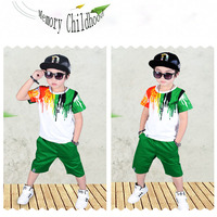 2017 Fashion Children S Wear Color Pattern Short Sleeve Children S Suit Boy S Round Neck