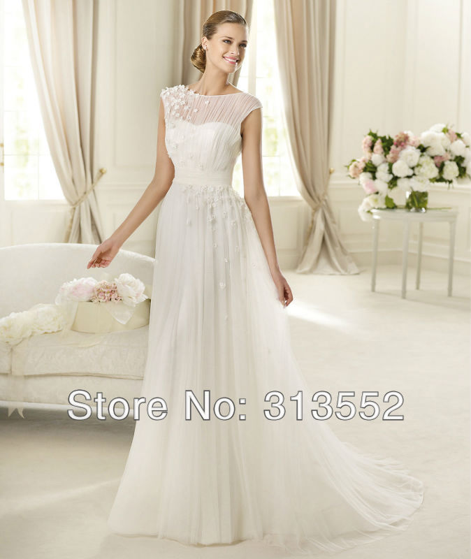 Grecian Style Wedding Gown: Wedding Dress 2013 Cap Sleeve Grecian Style A Line Bridal