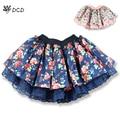 New 2017 Summer Fashion Flowers Print Lace Girls Tutu Skirt Children Clothing Kids Short Pettiskirt Child Casual Cake Skirts
