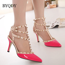 BYQDY Sexy Hasp Rivet Heels Female Leather High-heeled Pumps Stiletto Heel 9 cm Pointed Toe Hollow Ventilation Shoes Woman