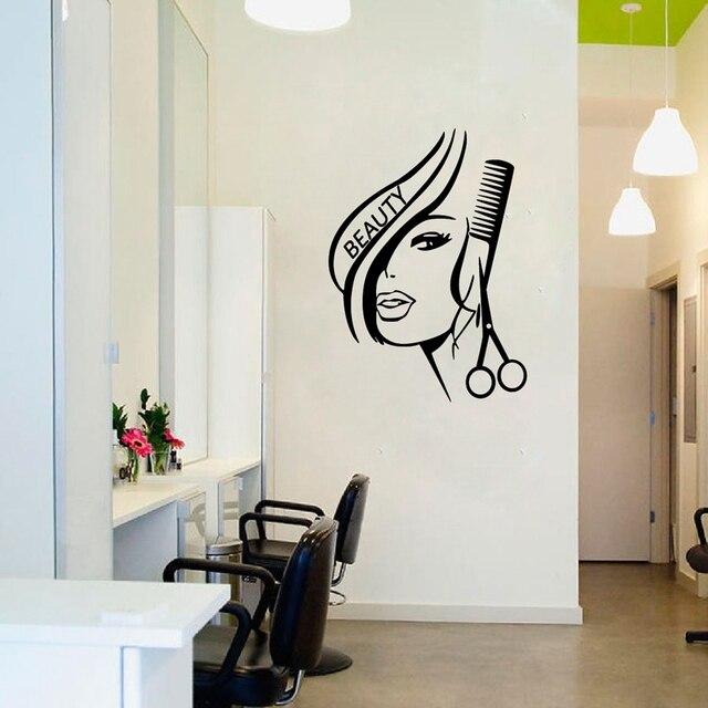 Muurstickers Gratis Verzending.Haar Schoonheid Verwijderbare Vinyl Muursticker Salon Barbershop