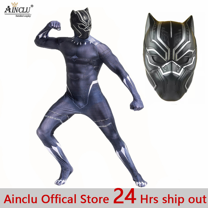 Black Panther Cosplay Costumes with Mask Adult Man Kid Zentai Avengers Infinity War Black Panther High Quality Cosplay Suits