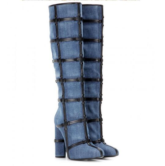 Brand LTTL rough high heels knee high boots black leather chains decoration blue denim boots for woman winter long boots