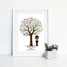 Персонализировать имя Дата мальчик Первое Святое Причастие сувенир отпечаток пальца Гостевая книга с деревом для декорация с крещением с днем рождения подарок