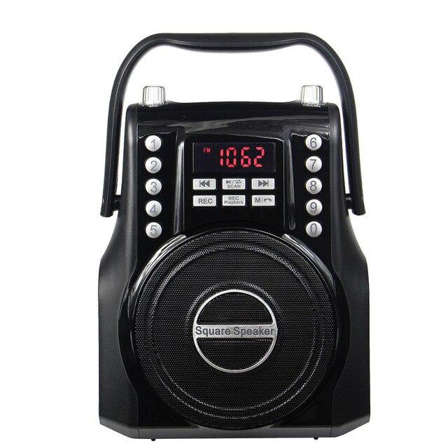 Черный Радио FM Bluetooth Мультимедиа Спикер Площади REC Рекордер Поддержка Расширение Микрофон Радио Приемник Y4375A