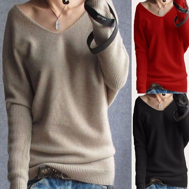 2017 Women Sweaters Spring Autumn V Neck Long Sleeve Solid Loose Knitted Sweater Pullovers Female Casual Jumper Top Pull Femme