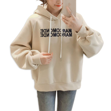 2019 Long Sleeve Loose Sweatshirt Embroidery Letters New Trend Tops  Winter Womens Casual Clothes Hoodies