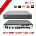 2015 NOVA 3mp/1080 p Multi-língua Plug & Play PoE 8CH NVR 8 canal DVR POE para Câmera IP HD com 8 Independent POE PoE