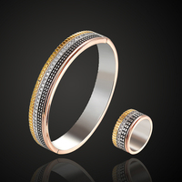 Theresa jewelry luxury brand bangle with ring 3A zircon micro pave setting four color plated bracelet For Women Pulseira Feminin